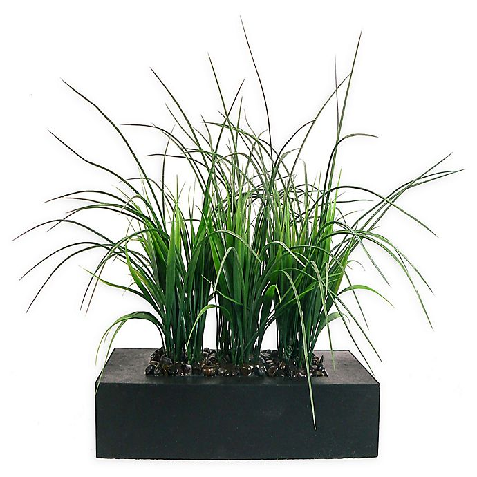 Alternate image 1 for Laura Ashley 11-Inch Artificial Tall Grass Pot in Brown/Black