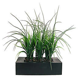Laura Ashley 11-Inch Artificial Tall Grass Pot in Brown/Black