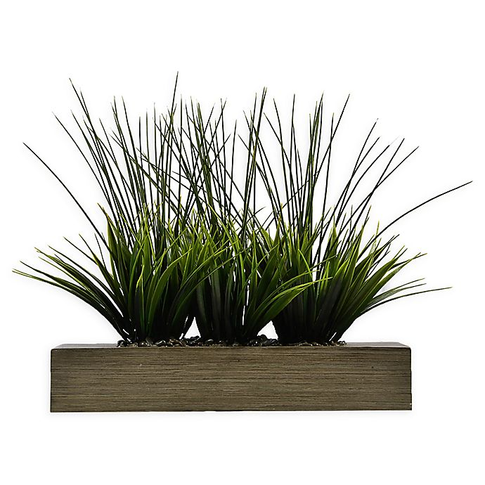 Alternate image 1 for Laura Ashley® 14-Inch Tall Artificial Grass in Taupe Planter