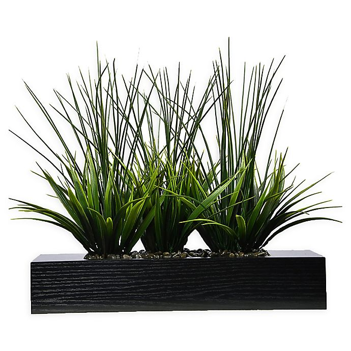Alternate image 1 for Laura Ashley® 14-Inch Tall Artificial Grass in Black Planter