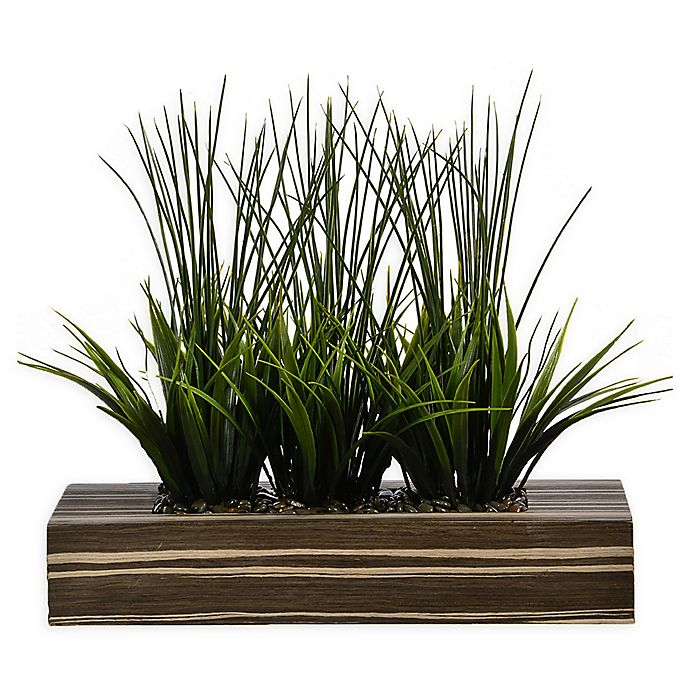 Alternate image 1 for Laura Ashley® 14-Inch Tall Artificial Grass in Zebra Planter