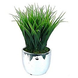 Laura Ashley 11-Inch Artificial Tall Grass Vases in Silver (Set of 2)