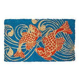 "Entryways Koi Fish 18"" x 30"" Thick Coir Door Mat in Blue/Orange"