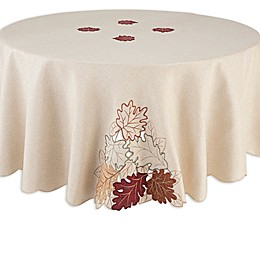 Autumn Bliss Cutwork 70-Inch Round Tablecloth