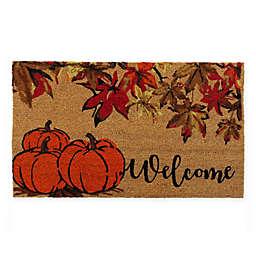 Welcome Pumpkin 18-Inch x 30-Inch Coir Door Mat