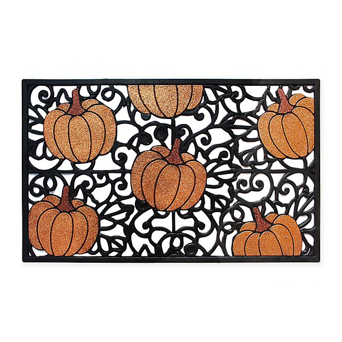 Alternate image 1 for Glitter Pumpkin 18-Inch x 30-Inch Rubber Door Mat in Black/Orange
