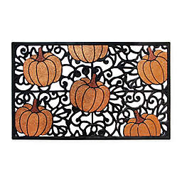 Glitter Pumpkin 18-Inch x 30-Inch Rubber Door Mat in Black/Orange