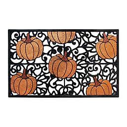 Glitter Pumpkin 18-Inch x 30-Inch Rubber Door Mat in Black/Orange