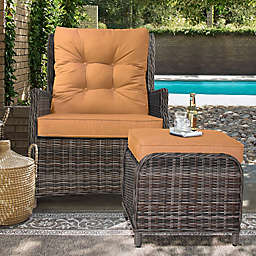 Relax-A-Lounger™ Sunny Outdoor Recliner and Ottoman Set in Orange