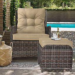 Relax-A-Lounger™ Sunny Outdoor Recliner and Ottoman Set in Sand