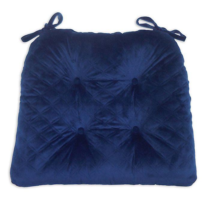 Alternate image 1 for Everly Velvet Chair Pad in Blue