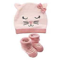 NYGB™ Newborn 2-Piece Cat Hat & Bootie Set in Pink