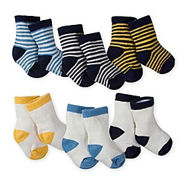 Gerber® 6-Pack Wiggle-Proof Crew Socks in Blue/White
