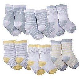 Gerber® Size 3-6M 6-Pack Wiggle-Proof Lamb Crew Socks in Grey/Yellow