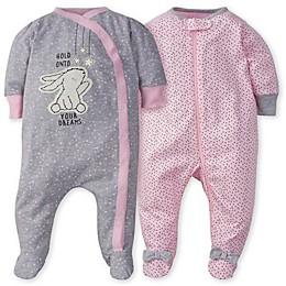 Gerber® 2-Pack Bunny Polka Dot Sleep n' Play Footies in Pink/Grey