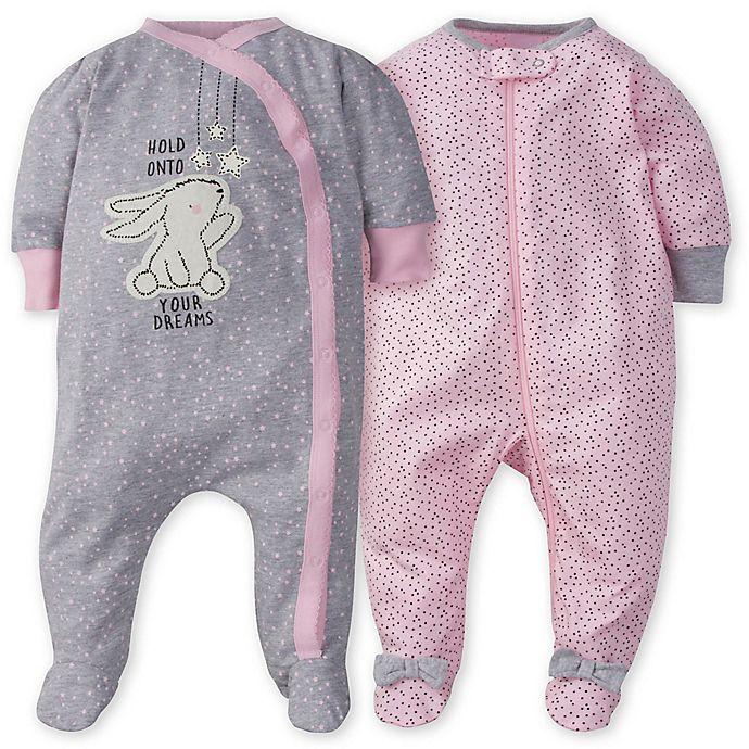 Alternate image 1 for Gerber® 2-Pack Bunny Polka Dot Sleep n' Play Footies in Pink/Grey