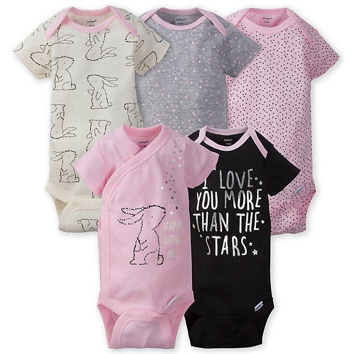 Alternate image 1 for Gerber ONESIES® 5-Pack Bunny Short Sleeve Bodysuits in Pink/Grey