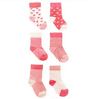 NYGB™ 6-Pack Hearts and Stripes Socks in Pink