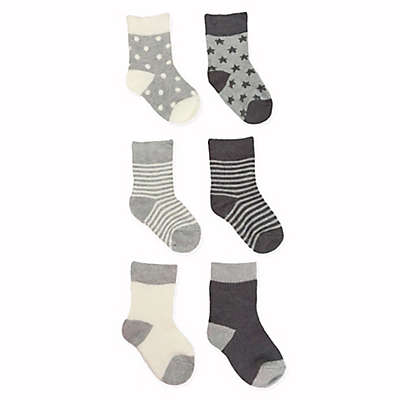 NYGB™ 6-Pack Stripes, Stars and Dots Socks in Grey