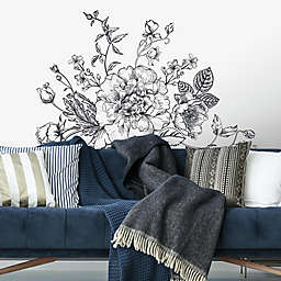 Roommates® Peony Giant Peel & Stick Wall Decal in Black