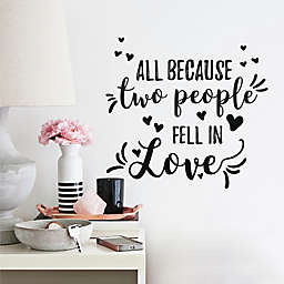 RoomMates® All Because Two People Quote 16.86-Inch x 7.47-Inch Wall Decals in Black