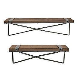 Glitzhome Farmhouse Metal/Wood Wall Shelf (Set of 2)
