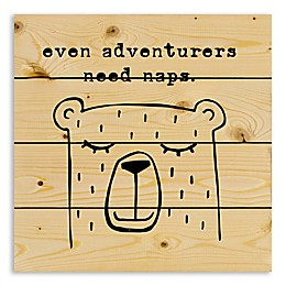 Designs Direct Even Adventurers Need Naps 14.25-Inch Square Wood Wall Art