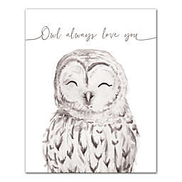"""Designs Direct """"Owl Always Love You"""" Canvas Wall Art in Grey"""