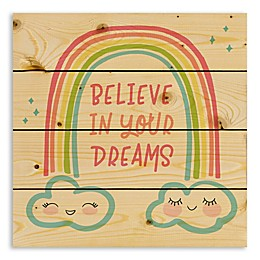 """Designs Direct """"Believe In Your Dreams"""" Multicolor Wood Wall Art"""