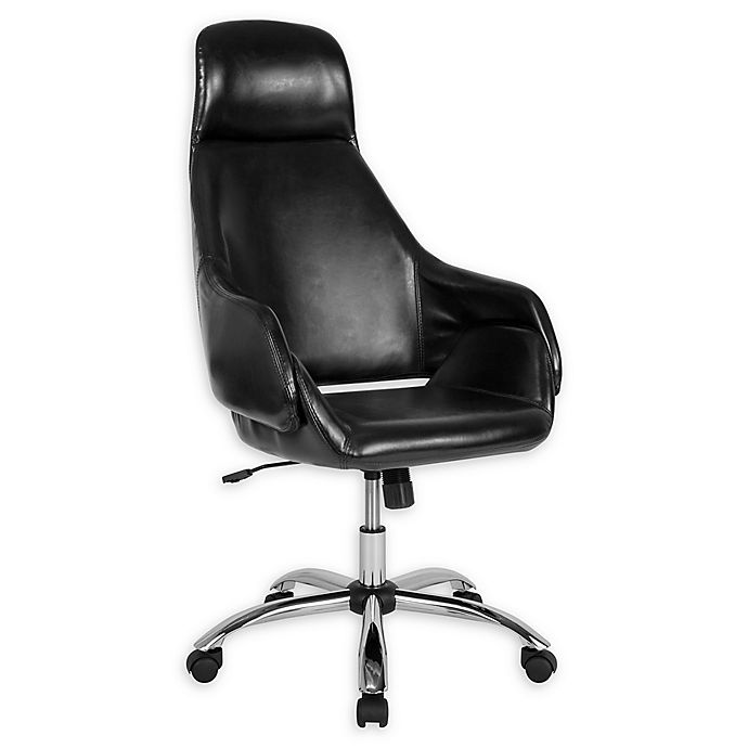 Alternate image 1 for Flash Furniture Faux Leather Swivel Marbella Office Chair in Black