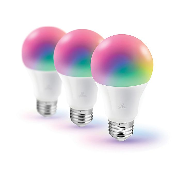 Alternate image 1 for Globe Electric Smart Wi-Fi 3-Pack 60-Watt Equivalent A19 Color Changing Tunable LED Bulb in White