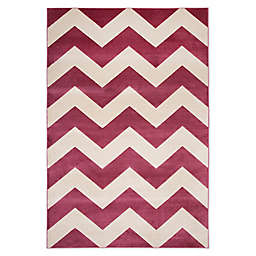 Abacasa Sonoma Chevron Tufted Area Rug in Raspberry/Ivory