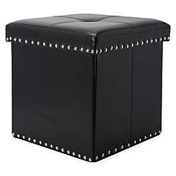 Simplify Faux Leather Foldable Storage Ottoman in Black