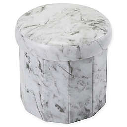 Simplify Round Faux Leather Foldable Storage Ottoman in Marble
