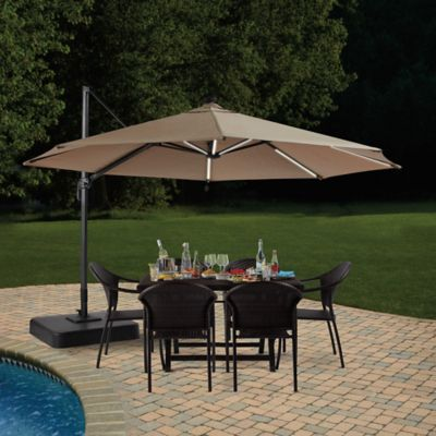 11 Foot Round Solar Cantilever Umbrella Bed Bath Amp Beyond