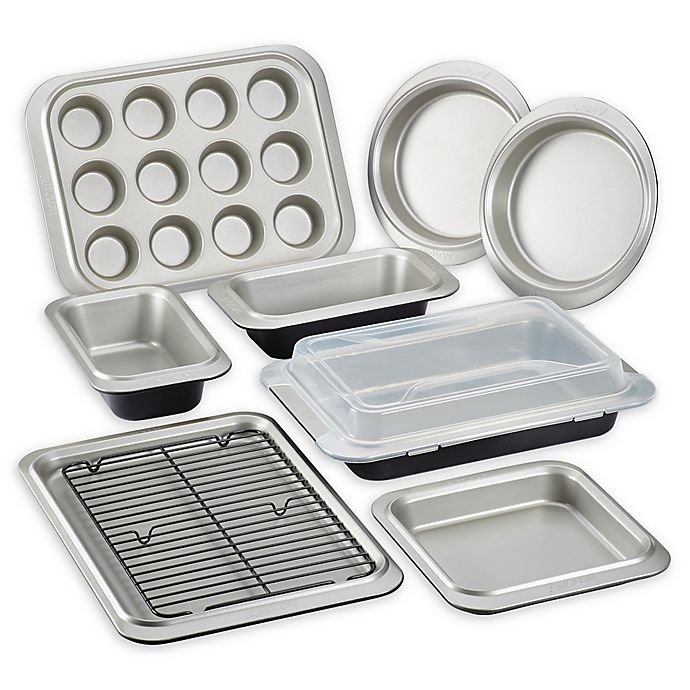 Alternate image 1 for Anolon® Allure™ Nonstick 10-Piece Bakeware Set in Onyx/Pewter