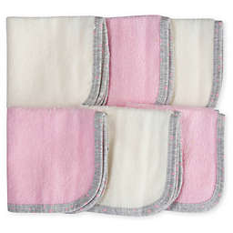 Gerber® 6-Pack Woven Washcloths in Pink/White