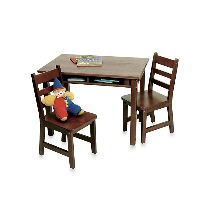 Alternate image 1 for Lipper International Child's Rectangle Table with Shelves & Chairs Set in Walnut