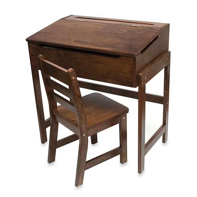 Alternate image 1 for Lipper International Slanted Top Desk & Chair - Walnut