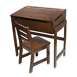 Lipper International Slanted Top Desk & Chair - Walnut