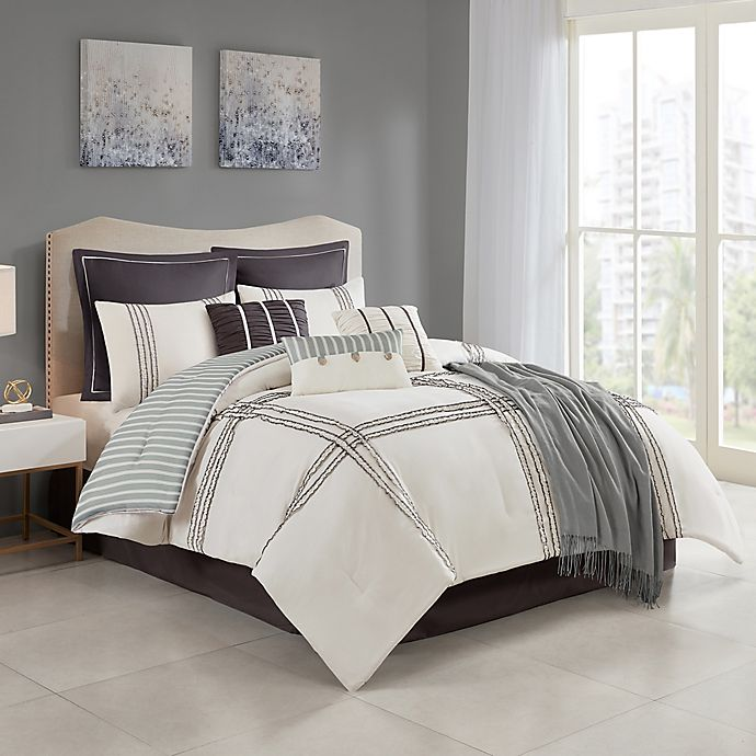 Isa 10 Piece Reversible Comforter Set, King Bedding Set Bed Bath And Beyond