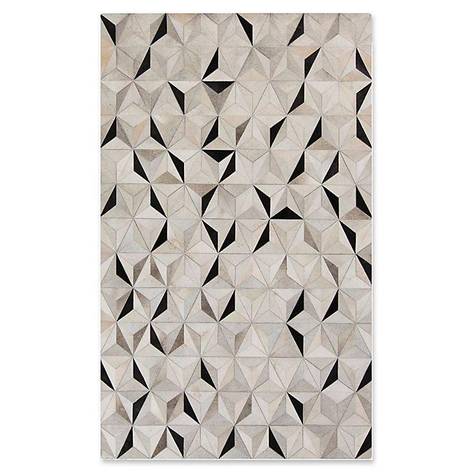Alternate image 1 for Surya Luiana Geometric Cowhide Rug in Charcoal