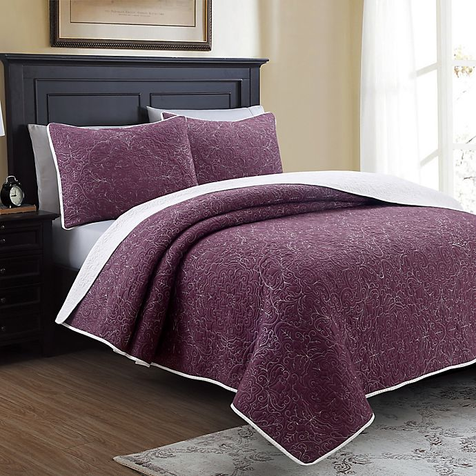 Alternate image 1 for Marseille Reversible King Quilt Set in Aubergine/White