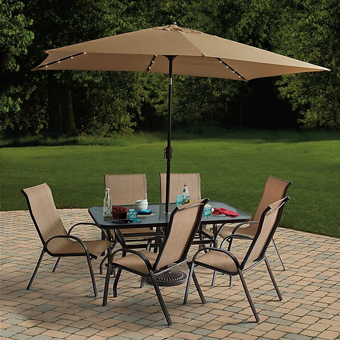 Alternate image 1 for Destination Summer 11-Foot Rectangular Aluminum Solar Patio Umbrella