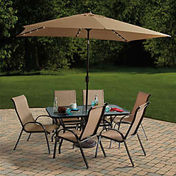 11-Foot Rectangular Aluminum Solar Patio Umbrella in Sunset