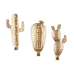 Metallic Cactus Hooks in Brass (Set of 3)