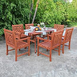 Vifah Malibu 7-Piece Curved Leg Outdoor Dining Set in Cherry