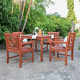 Vifah Malibu 5-Piece Square Outdoor Dining Set in Cherry