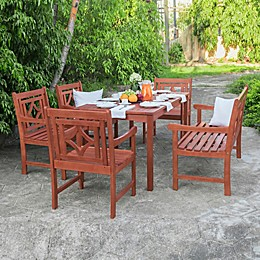 Vifah Malibu 6-Piece Outdoor Dining Set with Bench in Cherry