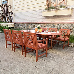 Vifah Malibu 7-Piece Outdoor Dining Set with Oval Extension Table in Cherry